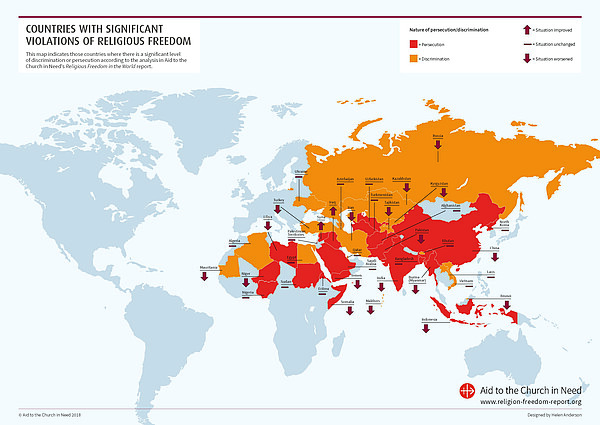 ACN world map, Religious Freedom Report, persecution